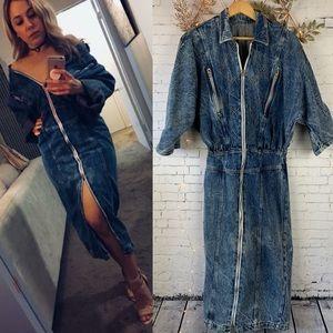 Vintage Denim Midi Stone Wash Zip Up Dress